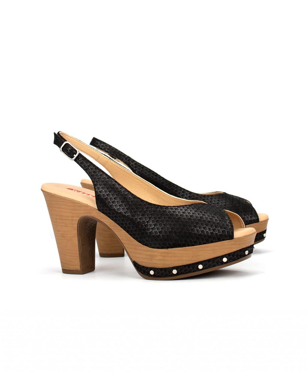 Sandalias De Tacon Mujer Napa Weekend Negro f7g6by